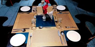 Hotel table presentation with beautiful objects stock photo stock images