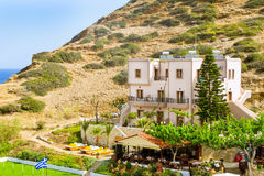Hotel and tavern in resort Bali, Crete Royalty Free Stock Image