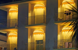 Hotel terrace. Lighted in the night Royalty Free Stock Photo