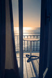 Hotel terrace with sea view in Agia Marina, Greece Royalty Free Stock Image