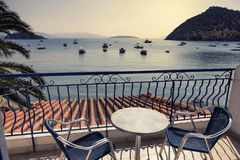 Hotel terrace in Tolo, Greece. Hotel terrace at sunset in Tolo, Greece Royalty Free Stock Photography