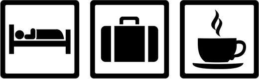 Hotel tester icons. Eat, sleep, drink. Hotel tester icons with eat, sleep, drink Stock Photos