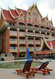 Hotel in Thailand. Temple hotel with pool in Thailand Royalty Free Stock Images