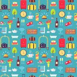 Hotel Theme Seamless Pattern Vector Illustration. Hotel stuff seamless pattern with baggage, bellman cart, wine, do not disturb signs, flowers and bells. Vector Stock Photos