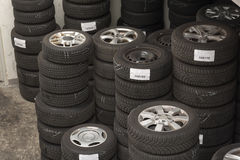 Hotel for tires. Warehouse with tires as a tire hotel stock images