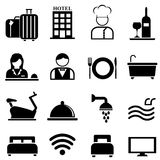 Hotel, toevlucht en gastvrijheidspictogramreeks stock illustratie