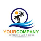 Hotel tourism holiday summer beach coconut palm tree sea wave vector logo design concept symbol icon on white background. In ai10 illustrations vector illustration