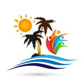 Hotel tourism sun holiday summer beach coconut palm tree sea wave vector logo design concept symbol icon on white background. Hotel tourism sun holiday summer vector illustration