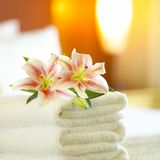 Hotel towels. A lush pile of clean white towels Royalty Free Stock Image