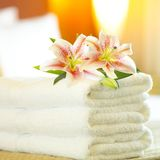 Hotel towels. A lush pile of clean white towels Royalty Free Stock Photos