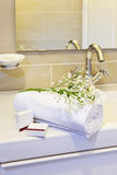 Hotel Towels. Ready for use by the guests royalty free stock photo