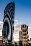 Hotel Tower In The Gold Coast City. One of the twin hotel towers. The apartments nearby appear very small next to it stock photo