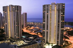 Hotel Towers at dusk, Ala Moana, Hawaii. Stock Photo