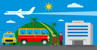 Hotel transfer and resort. Concept flat illustration Stock Photos
