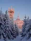 Hotel and transmitter Jested in winter time. Liberec, Czech Republic Stock Photo