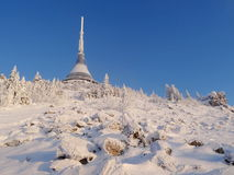 Hotel and transmitter Jested in winter time. Liberec, Czech Republic Stock Photos