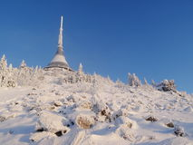 Hotel and transmitter Jested in winter time. Liberec, Czech Republic Royalty Free Stock Photo