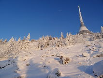 Hotel and transmitter Jested in winter time. Liberec, Czech Republic Royalty Free Stock Photography