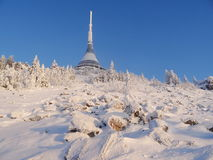Hotel and transmitter Jested in winter time. Liberec, Czech Republic Royalty Free Stock Image