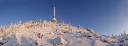 Hotel and transmitter Jested in winter time. Liberec, Czech Republic Stock Photography