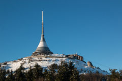 Hotel and transmitter Jested in winter time, Liberec Stock Photography