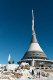 Hotel and transmitter Jested in winter time, Liberec. Czech Republic Royalty Free Stock Images