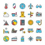 Hotel and Travel Colored Vector Icons Set 3. Pack your bag and get ready for holiday and travelling. Pull that Hotel and Travel Vector Icons pack into your Stock Image