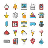 Hotel and Travel Colored Vector Icons Set 5. Pack your bag and get ready for holiday and travelling. Pull that Hotel and Travel Vector Icons pack into your Royalty Free Stock Photo