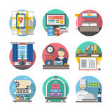 Hotel and travel flat color icons. Traveling elements. Hotel services. Internet booking, rooms, restaurant. Colorful round flat icons collection. Web design stock illustration