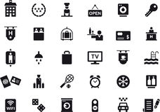 Hotel and travel icon set. Black and white glyph flat icon set relating to hotels and travel Stock Photo