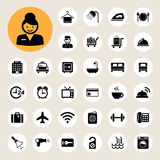 Hotel and travel icon set. Illustration eps10 Royalty Free Stock Photos