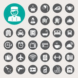 Hotel and travel icon set Stock Images