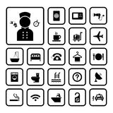 Hotel and travel icon set Stock Photos