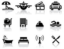 Hotel and travel icons. Hotel and travel black icons set vector illustration