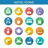 Hotel Travel Icons Set. Hotel travel accommodation color icons set of restaurant food towel and bed isolated vector illustration Stock Photography
