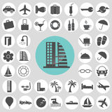 Hotel and travel icons set. Stock Photo
