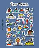 Hotel and travel icons. Sticker set for your design Royalty Free Stock Photography