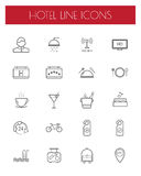 Hotel and travel line icon set. Royalty Free Stock Image