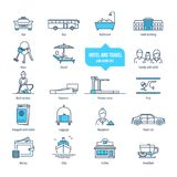 Hotel and travel thin line icons, pictogram, symbol set. Transport, service of the service, rest, playing sports, hotel building, luggage, payment, food Royalty Free Stock Image