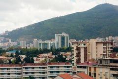 Hotel Tre Canne op de kust van Budva Stock Fotografie