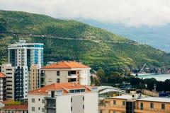 Hotel Tre Canne sulla costa di Budua Fotografia Stock Libera da Diritti