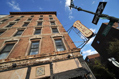 Hotel in Tribeca New York. An old hotel in Tribeca New York located at 384 West St, New York, NY, intersecting Barrow Street stock photography