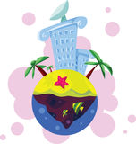 Hotel on the tropic island. Stylized illustration of a luxury building standing on the island, with fish and sea star Stock Photos