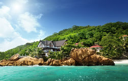 Hotel on tropical beach, La Digue Stock Photos