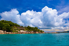 Hotel on tropical beach - La Digue Seychelles Royalty Free Stock Photos