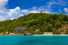 Hotel on tropical beach - La Digue Seychelles Royalty Free Stock Photography