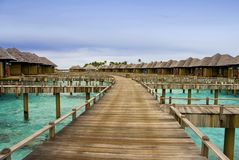 Hotel on tropical island, Maldives Royalty Free Stock Photography