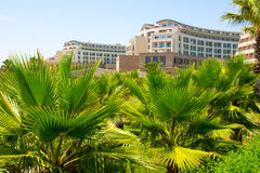 Hotel in tropical palm trees Royalty Free Stock Images