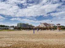 Hotel turchi alla spiaggia a Adalia Fotografia Stock