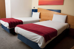 Hotel Twin Room Stock Photo
